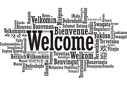 The word welcome in a word cloud in several languages