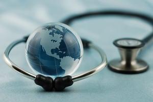 Globe and stethoscope