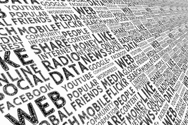 A word cloud listing media platforms: radio, web, YouTube, Facebook, LinkedIn, Flickr