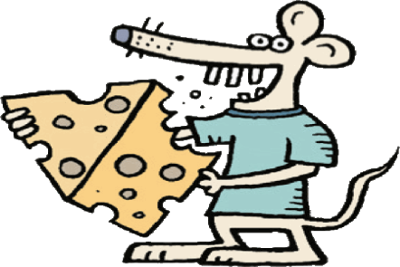 Illustration of a mouse wearing a T-shirt standing and holding a large piece of Swiss cheese