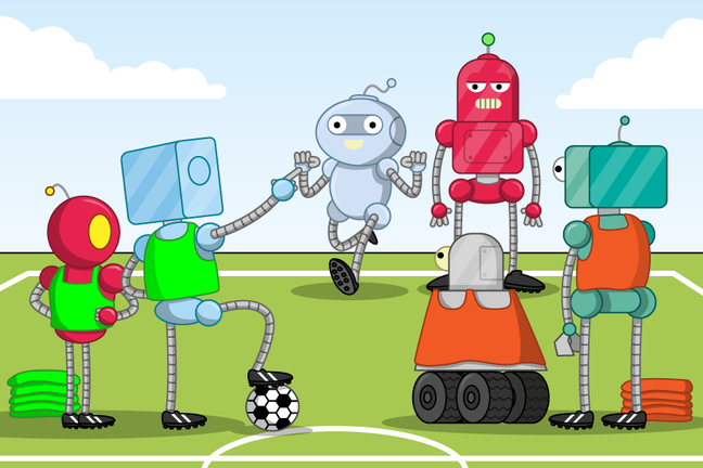 A robot in a green bib picks another robot to join their team. Another disgruntled robot stands next to the robot picked. The picking robot is next to another in a green bib. There are two robots in orange bibs off to the side.