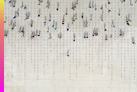 An abstract image of a crowd walking over binary code.