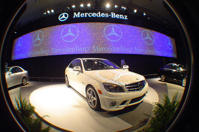 mercedes benz car on an exhibition platform