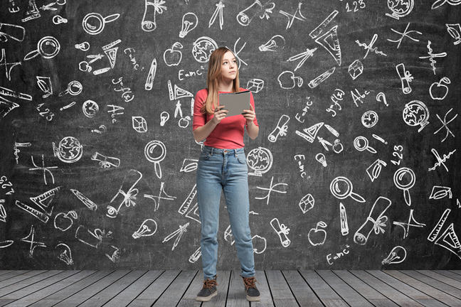 Woman pondering education