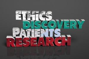 A graphic with the words: ethics, discovery, patients and research