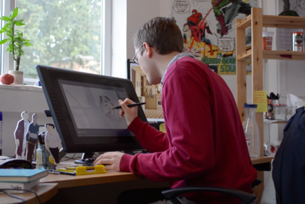 animator draws on screen