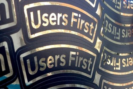 image of a sticker saying 'Users First'