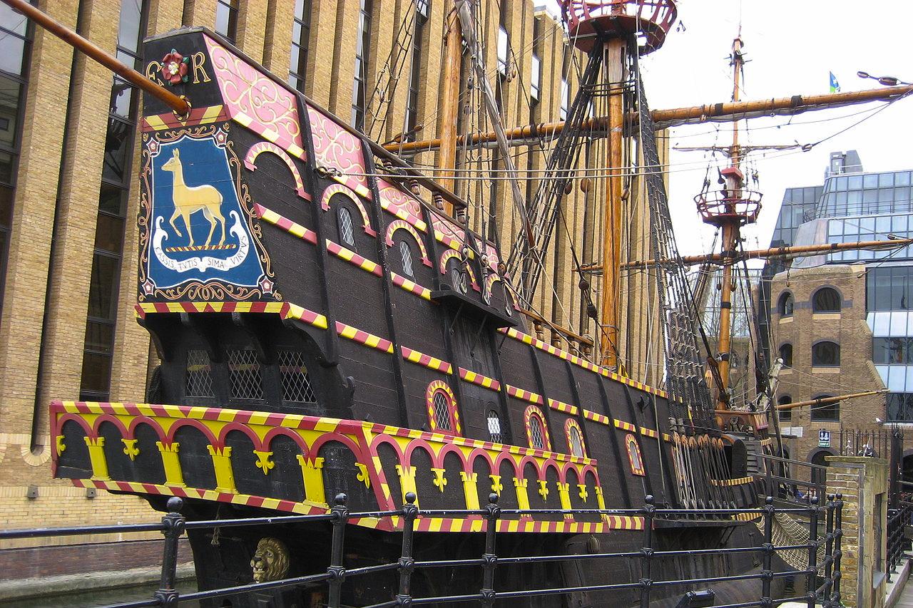 A replica of the Golden Hinde, a 16th century galleon.