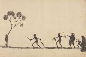 Aboriginal artwork of hunters catching a goanna