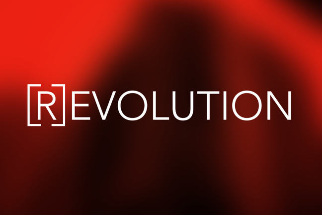 the word Revolution with the letter R in a closed bracket