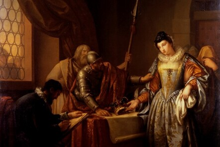 Painting of the abdication of Mary Queen of Scots