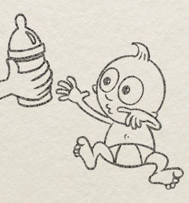 Image of baby reaching for bottle.