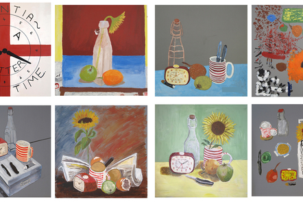 Image of a selection of painted still-life canvases