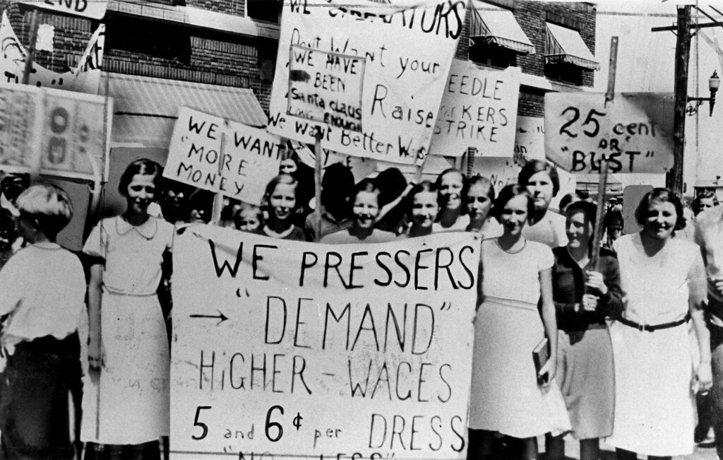 Women protesting for higher wages, US, 1930s
