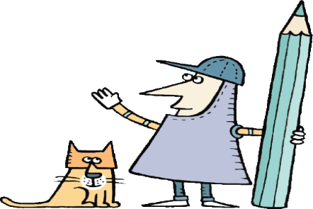 Illustration of a feline standing by a male medieval knight holding a very tall pencil