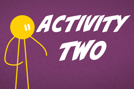 A cartoon icon of a person with 'Activity 2' written in the centre.