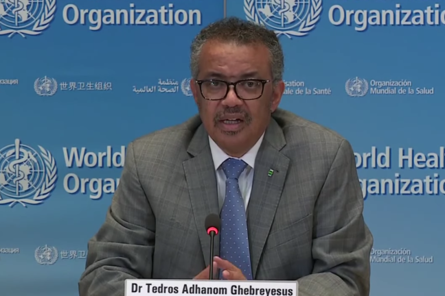 Dr Tedros Adhanom Ghebreyesus giving a WHO briefing
