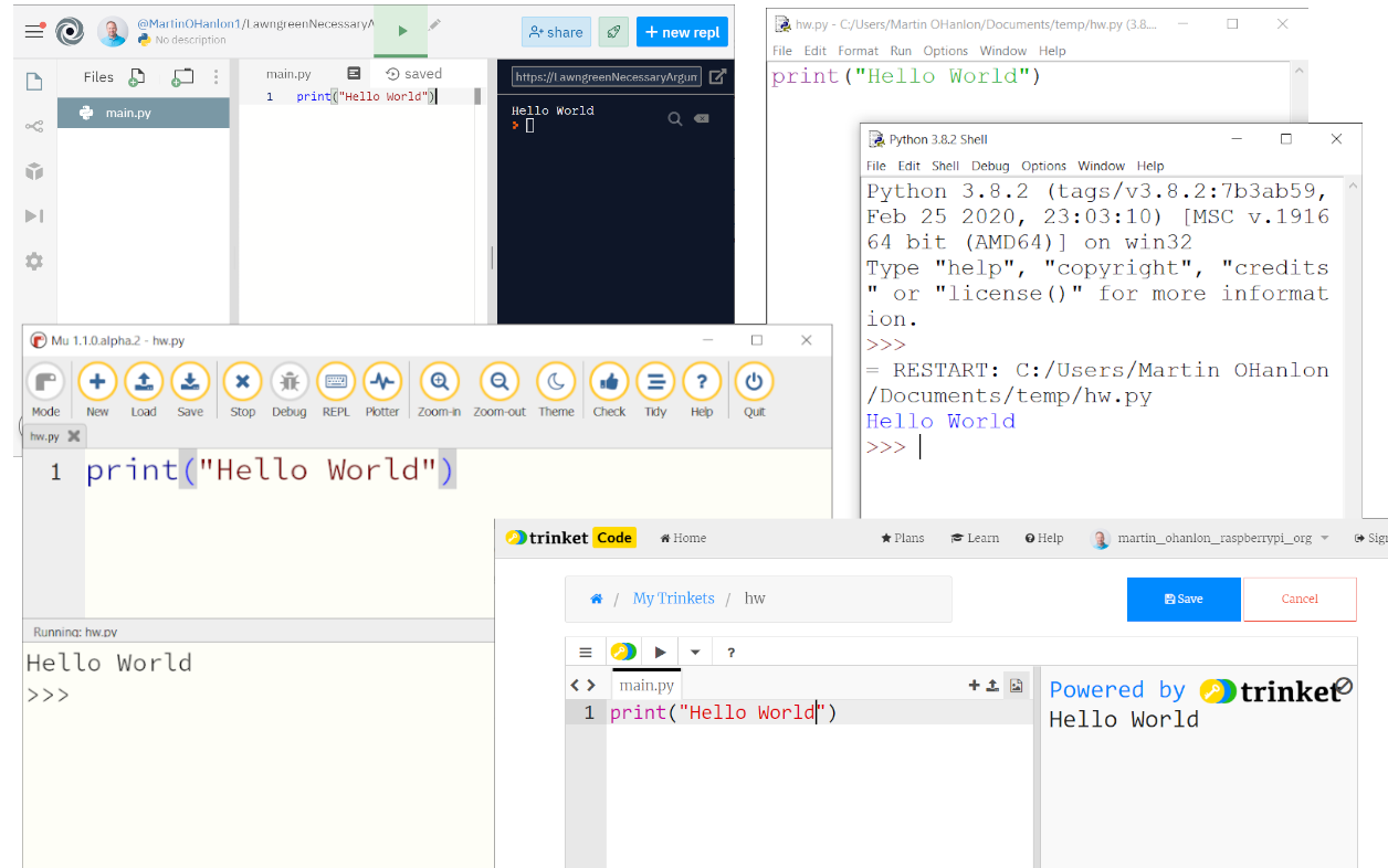 A collage of screenshots showing various examples of Python software