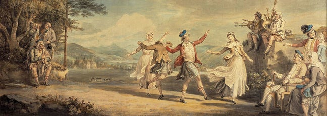 'A Highland Dance, painted in 1780 by Scottish Artist, David Allan. It shows HIghland society and culture at a time when the clans were disappearing as a form of social community