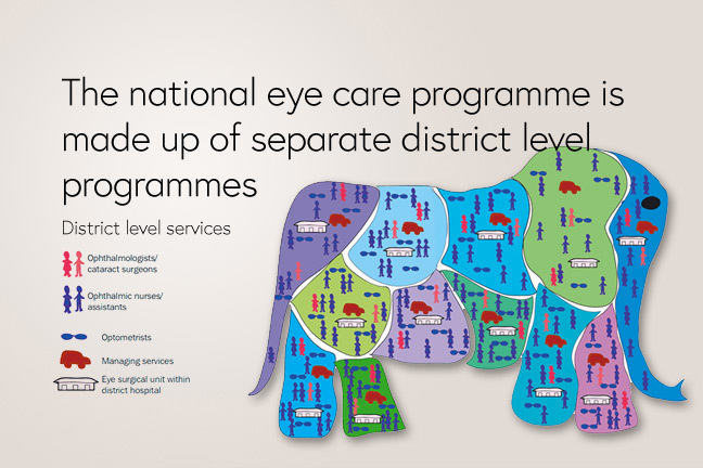 The national eye care programme should be made up of separate district programmes