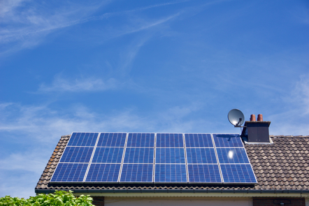 Photovoltaic panels on the roof of a house
