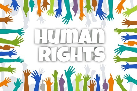 Human rights - words surrounded by hands