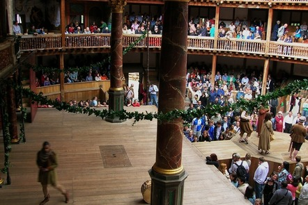 The audience at Shakespeare's Globe, London, watch a play