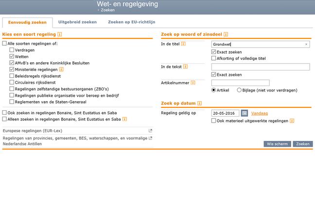Zoeken op wetten.nl