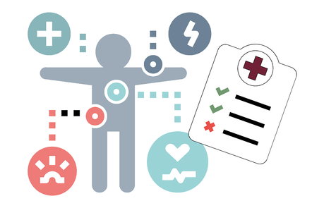 Figure icon surrounded by health icons with medical chart in foreground
