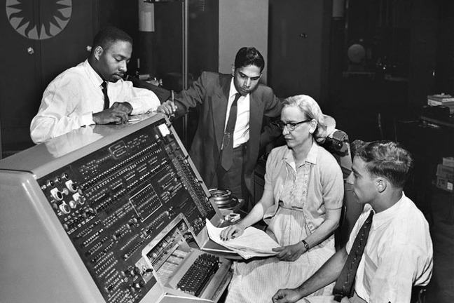 A photograph of computing pioneer, Grace Hopper