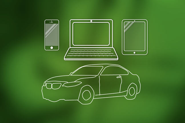 Laptop, phone, car, tablet