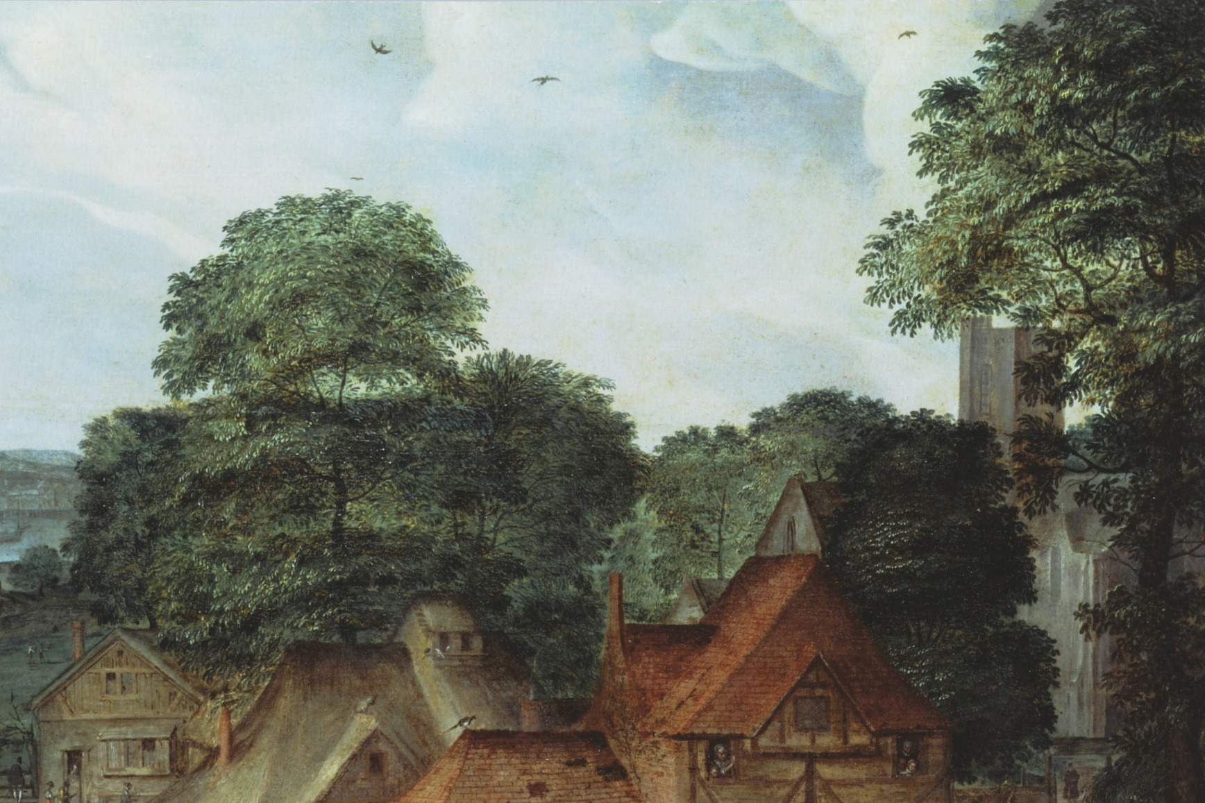 Detail of a painting of a Tudor Town showing houses, trees and a blue sky with birds