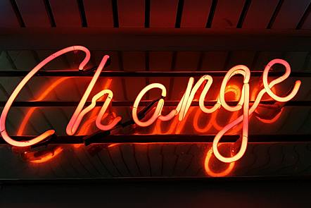Neon lights of the word change.