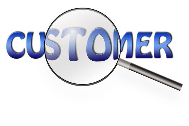 A graphic with the word 'customer' in capital letters with a magnifying glass hovering over the middle of the word 'customer'.