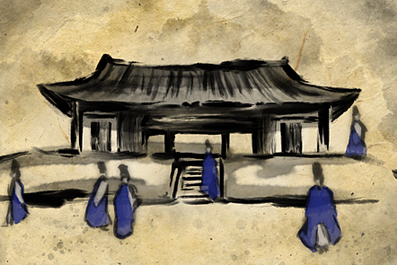 The Sungkyunkwan, populated with various scholars.