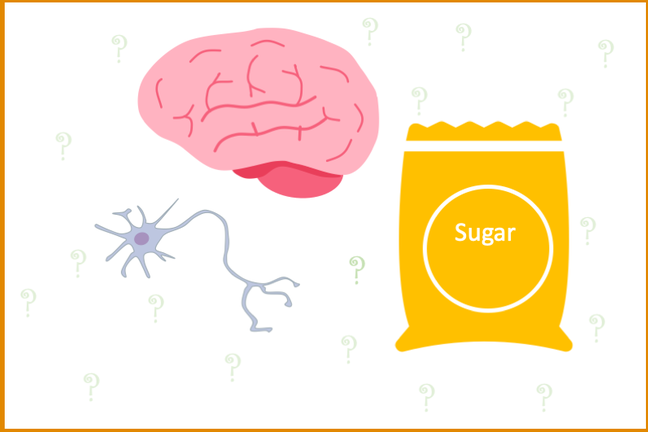 cartoon of a bag of sugar, brain and neuron