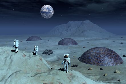 Depiction of humans inhabiting the moon