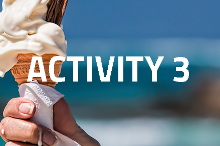 Hand holding a melting ice cream with 'Activity 3' written over the top of the image