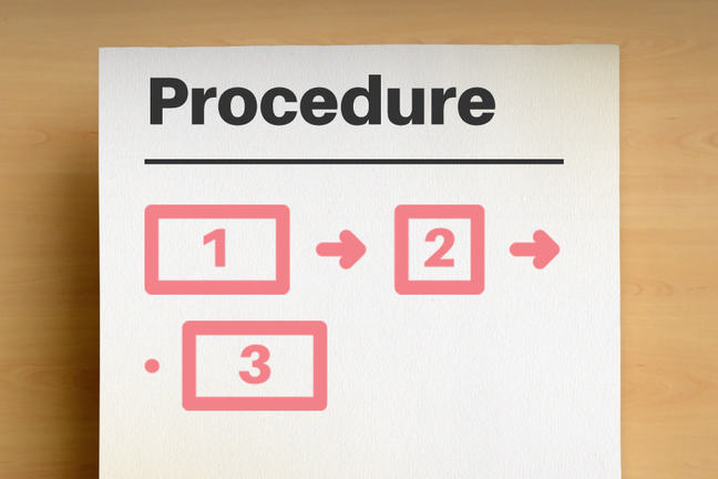 The procedure section of a technical report