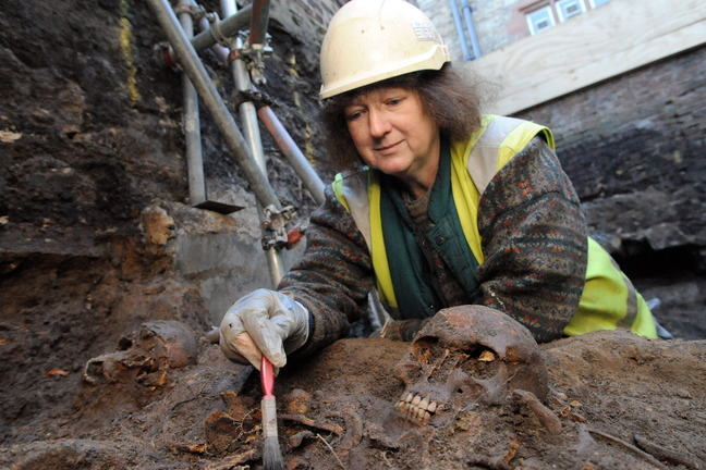 Janet Beveridge at work at Palace Green in November 2013 when the human remains were first discovered