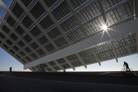 Large solar panel at Barcelona forum