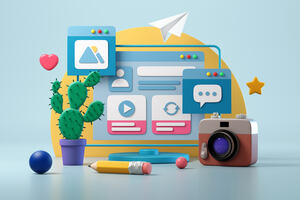 Cartoon of a computer screen with various items in front of it, a cactus, camera, pencil
