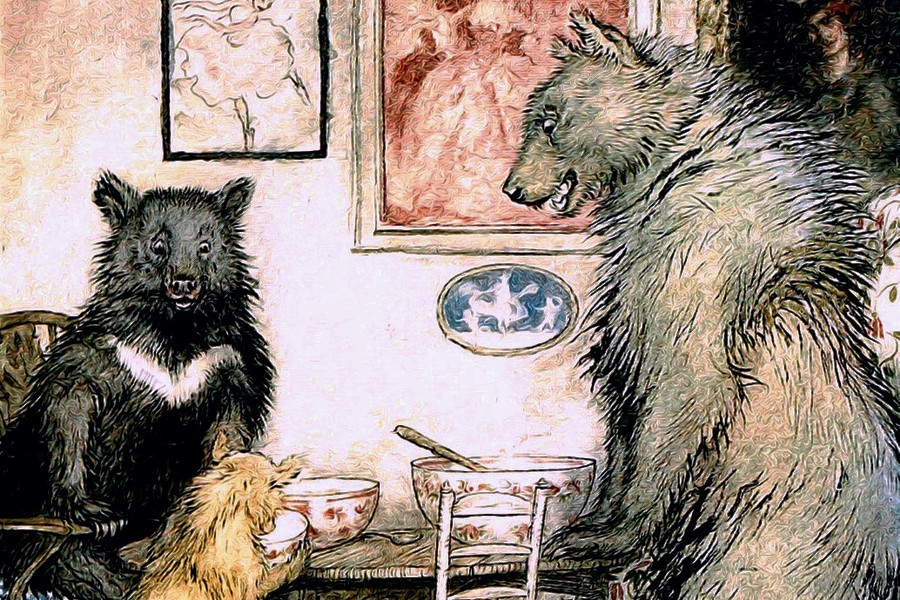 The three bears scrutinise their porridge