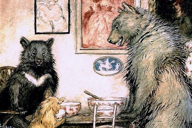 The three bears scrutinise their porridge