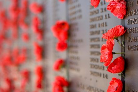 Poppies on the Wall of Remembrance at the Australian War Memorial, Canberra, Australia.  This image represents the free online course World War 1: A History in 100 Stories.
