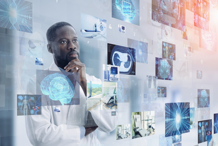Medical technology concept with electronic health medical records and data with a Medical Doctor in the background looking at the different electronic files.