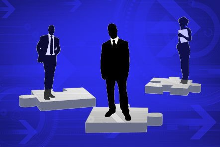 Illustration of a group of three silhouetted business figures