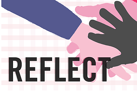 The word 'reflect' in bold letters over an illustration of hands touching