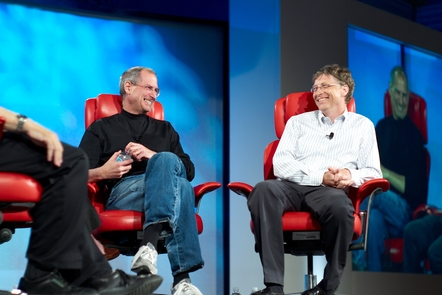 By Joi Ito from Inbamura, Japan (Steve Jobs and Bill Gates on Flickr) [CC BY 2.0 (http://creativecommons.org/licenses/by/2.0)], via Wikimedia Commons