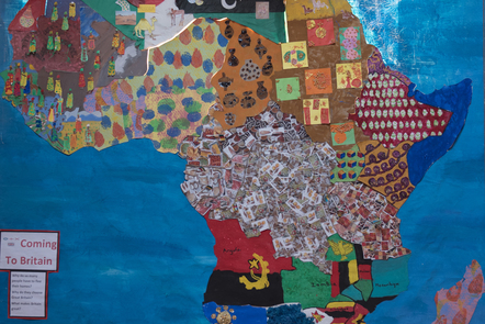 A collage of a map of Africa